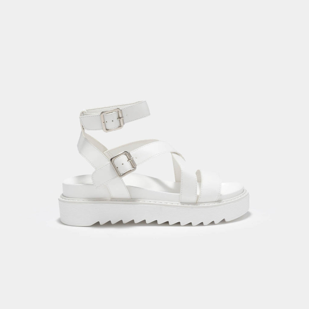 ZODY Footwear Ceres Gladiator White Sandals Vegan Strappy Sandals