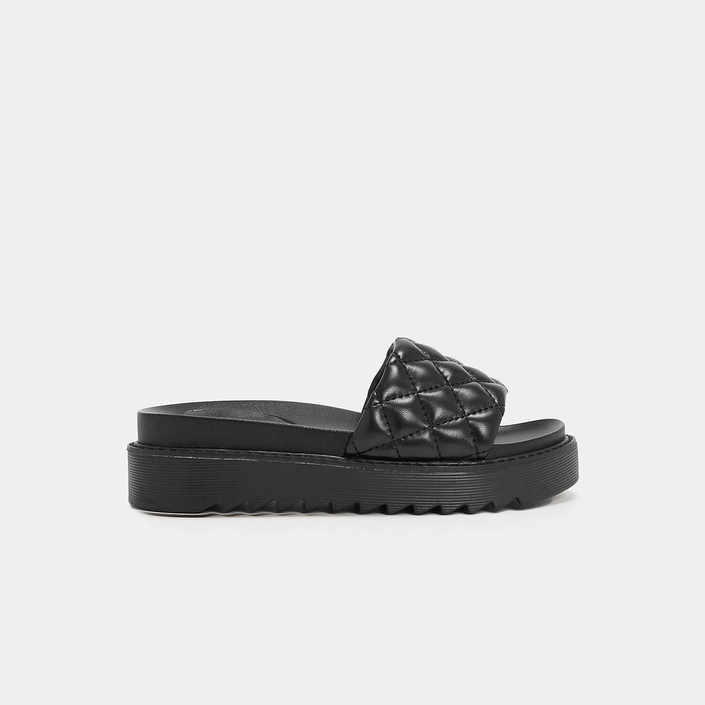 KOI Footwear Ersa Quilted Black Sliders Vegan Sliders view 2