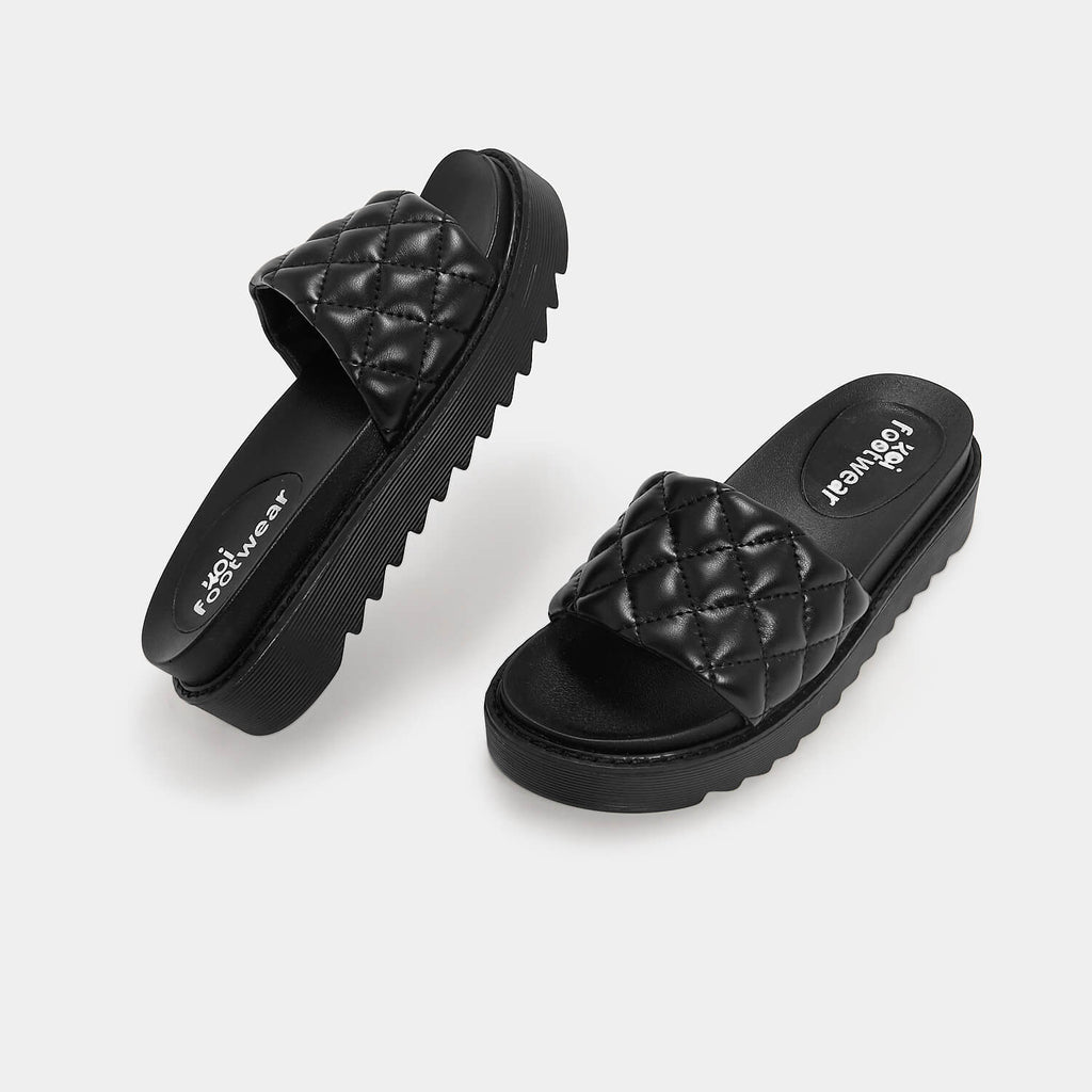 KOI Footwear Ersa Quilted Black Sliders Vegan Sliders