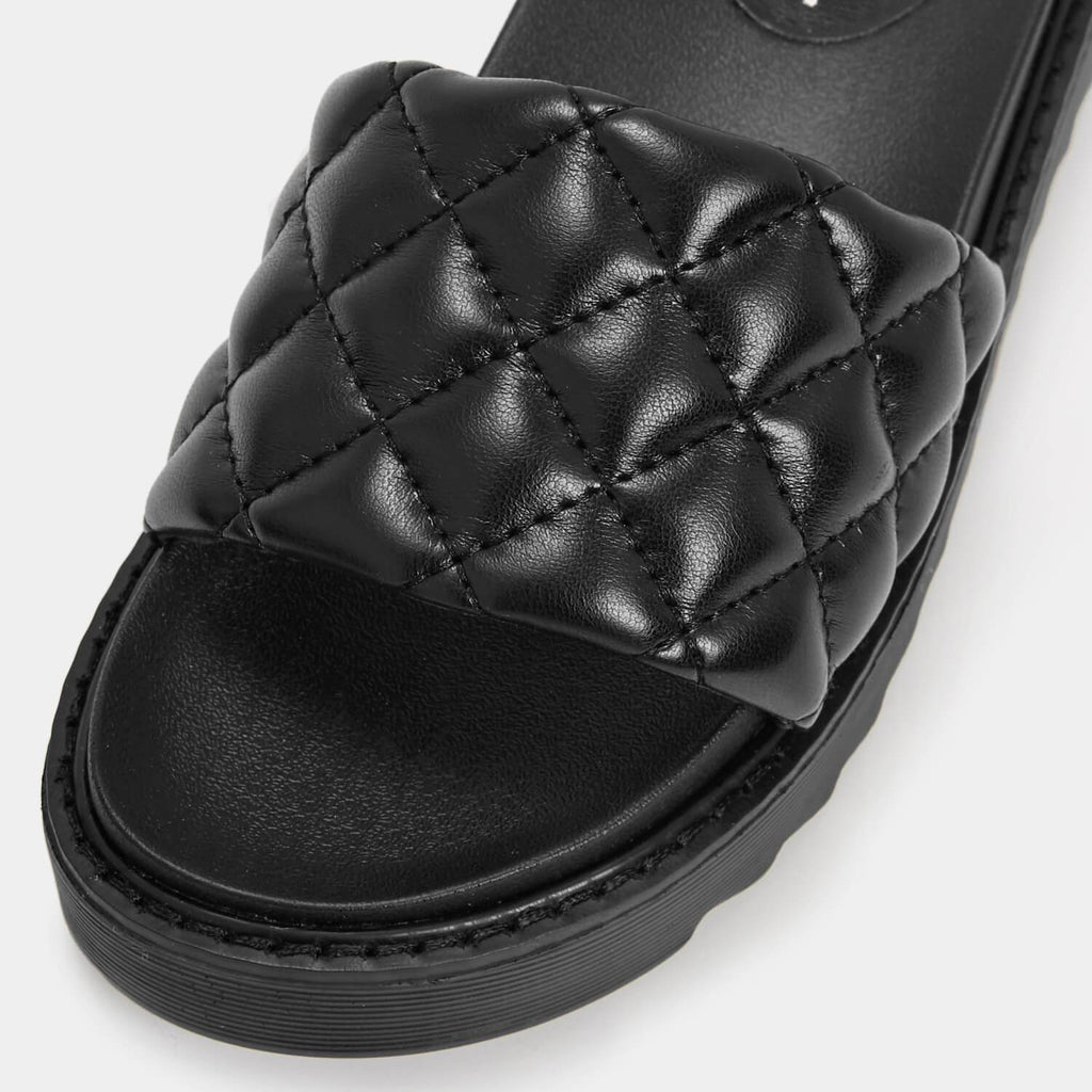 KOI Footwear Ersa Quilted Black Sliders Vegan Sliders view 4