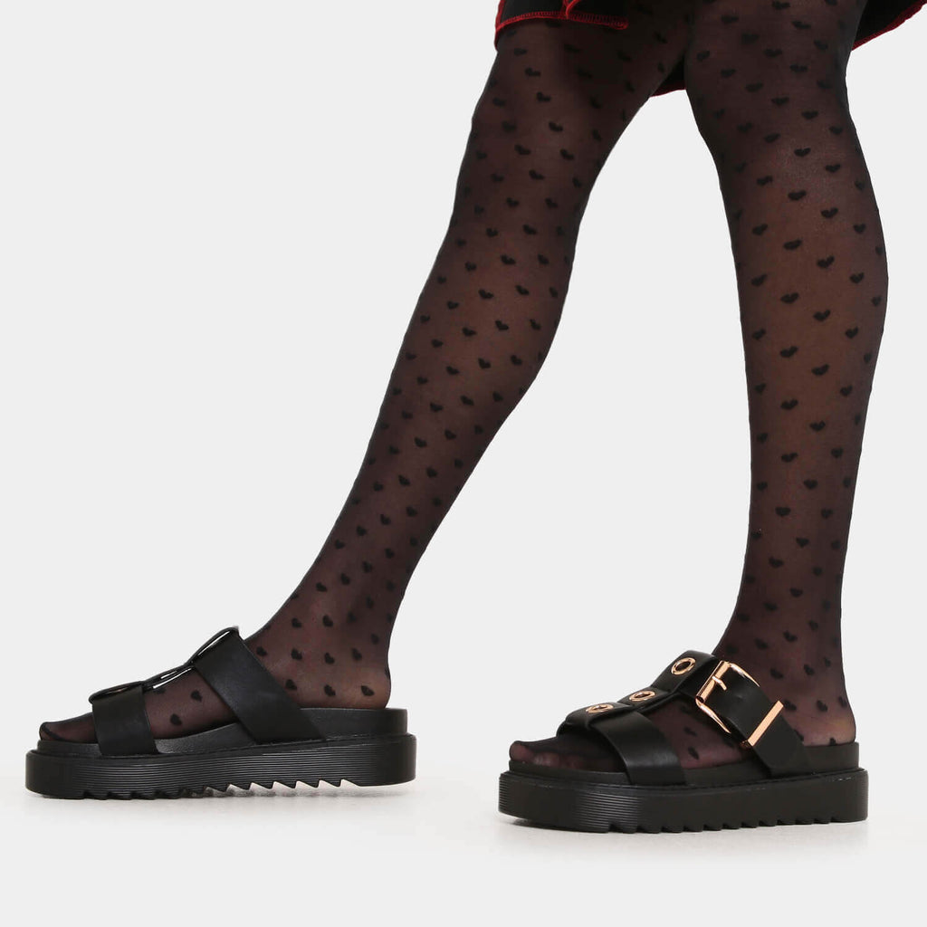 ZODY Footwear Zamak Black Gladiator Sliders Vegan Gladiator Sandals view 3
