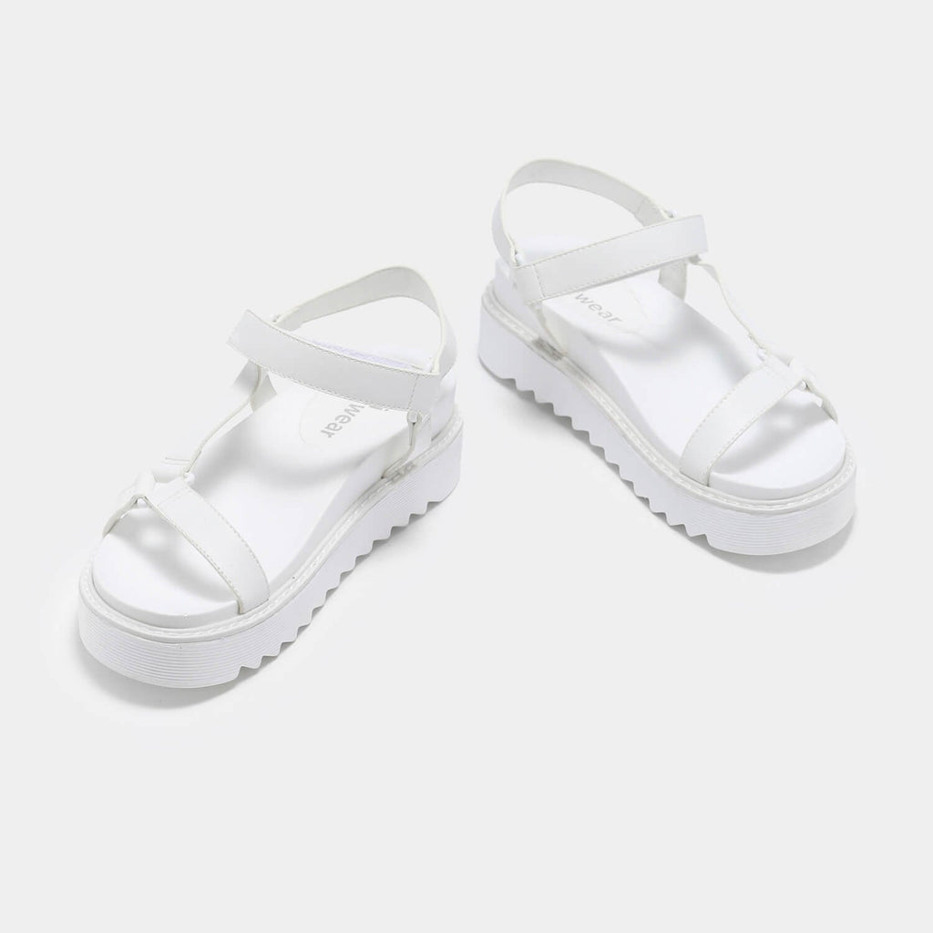 ZODY Footwear Amari Barely There White Sandals Vegan Strappy Sandals