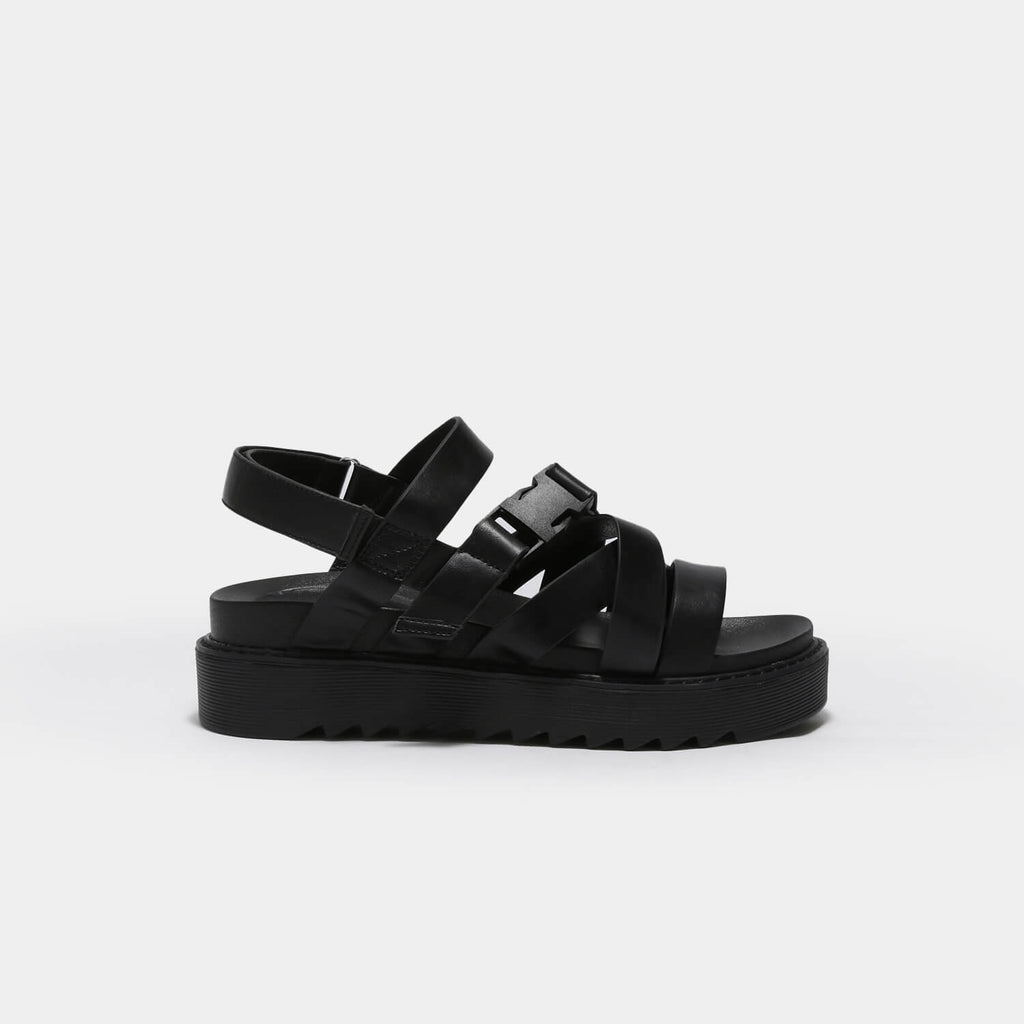 KOI Footwear Zola Extra Strappy Black Sandals Vegan Strappy Sandals view main view