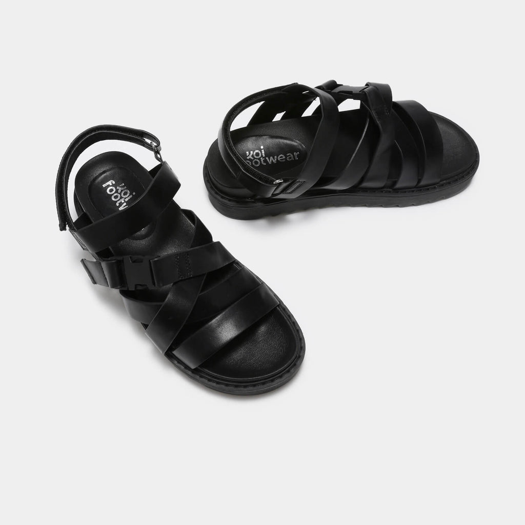 KOI Footwear Zola Extra Strappy Black Sandals Vegan Strappy Sandals view 3