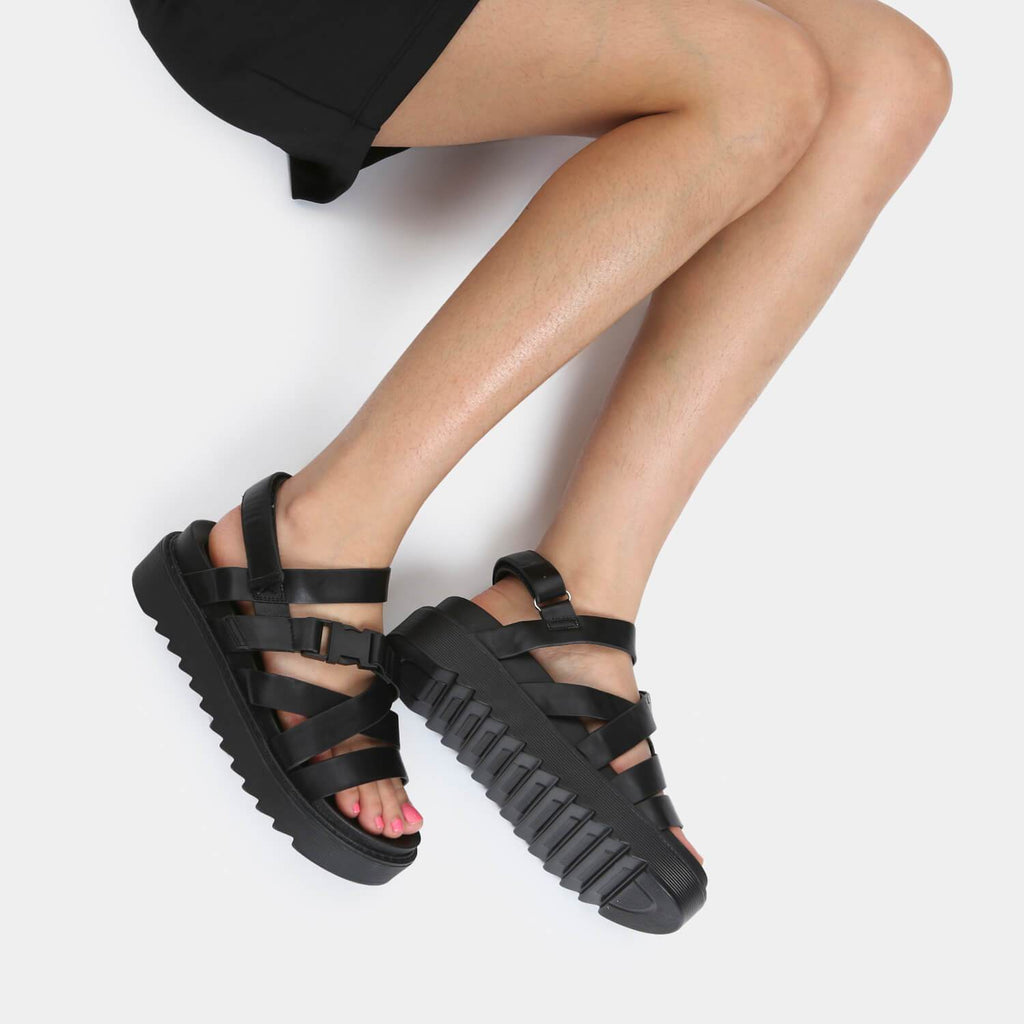 KOI Footwear Zola Extra Strappy Black Sandals Vegan Strappy Sandals view 2
