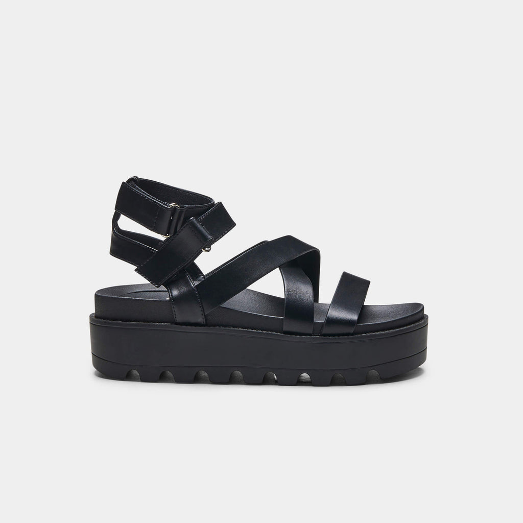 CRIX  Black Chunky Flatform Sandals 1 view main view