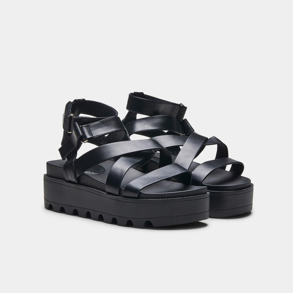 CRIX  Black Chunky Flatform Sandals 3 view 3