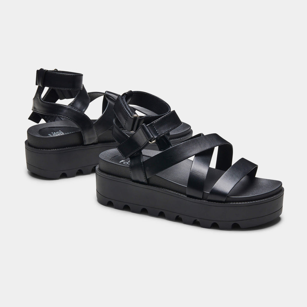 CRIX  Black Chunky Flatform Sandals 2 view 2