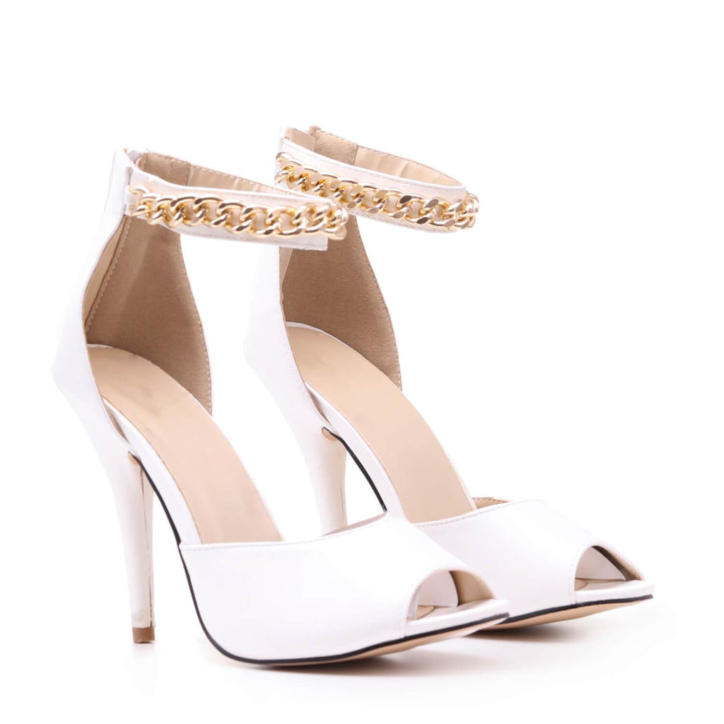 White Gold Chain Strap Peep Toe Heels view 2