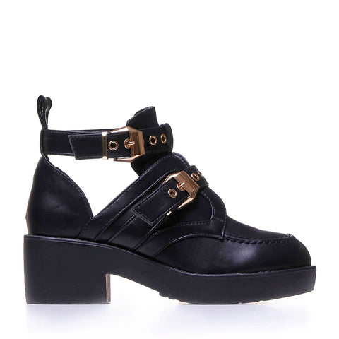 Black Platform Gold Buckle Cut Out Ankle Boots
