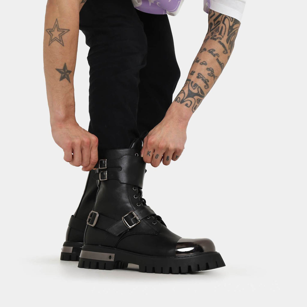 KOI Footwear Desolation Men's Gunmetal Combat Boots Vegan Military Ankle Boots view main view