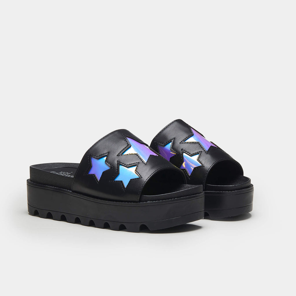 KOI Footwear COSMO Holographic Star Chunky Sliders Vegan Sliders view 2