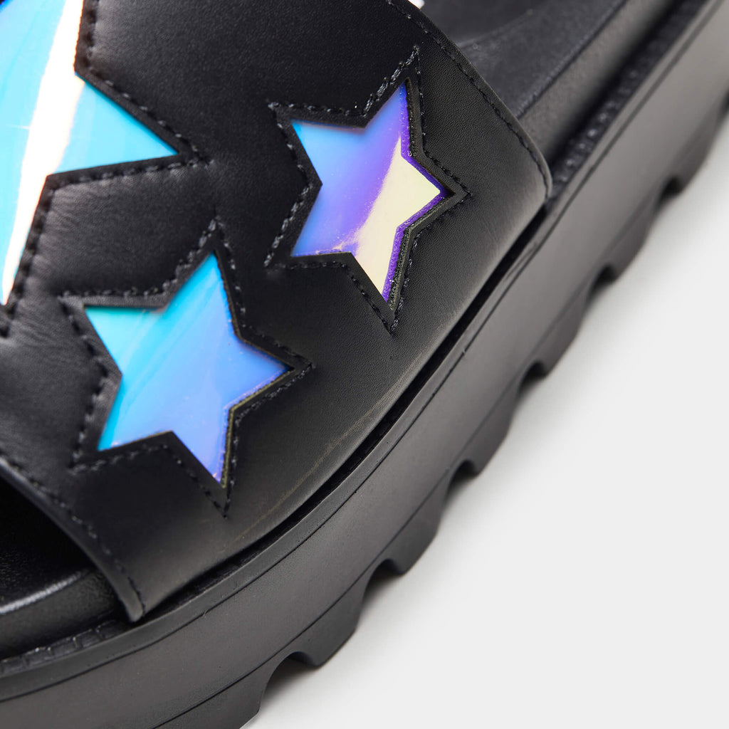 KOI Footwear COSMO Holographic Star Chunky Sliders Vegan Sliders view 5