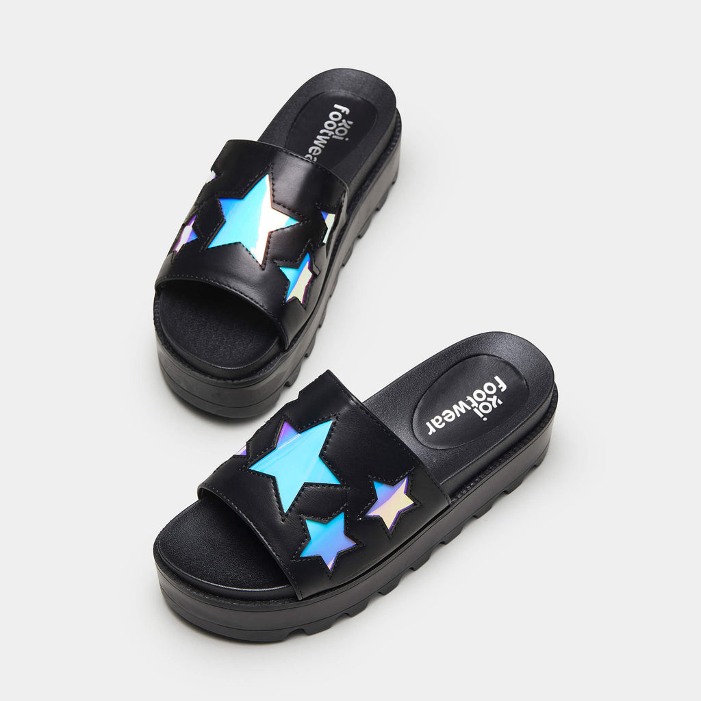 KOI Footwear COSMO Holographic Star Chunky Sliders Vegan Sliders view 3