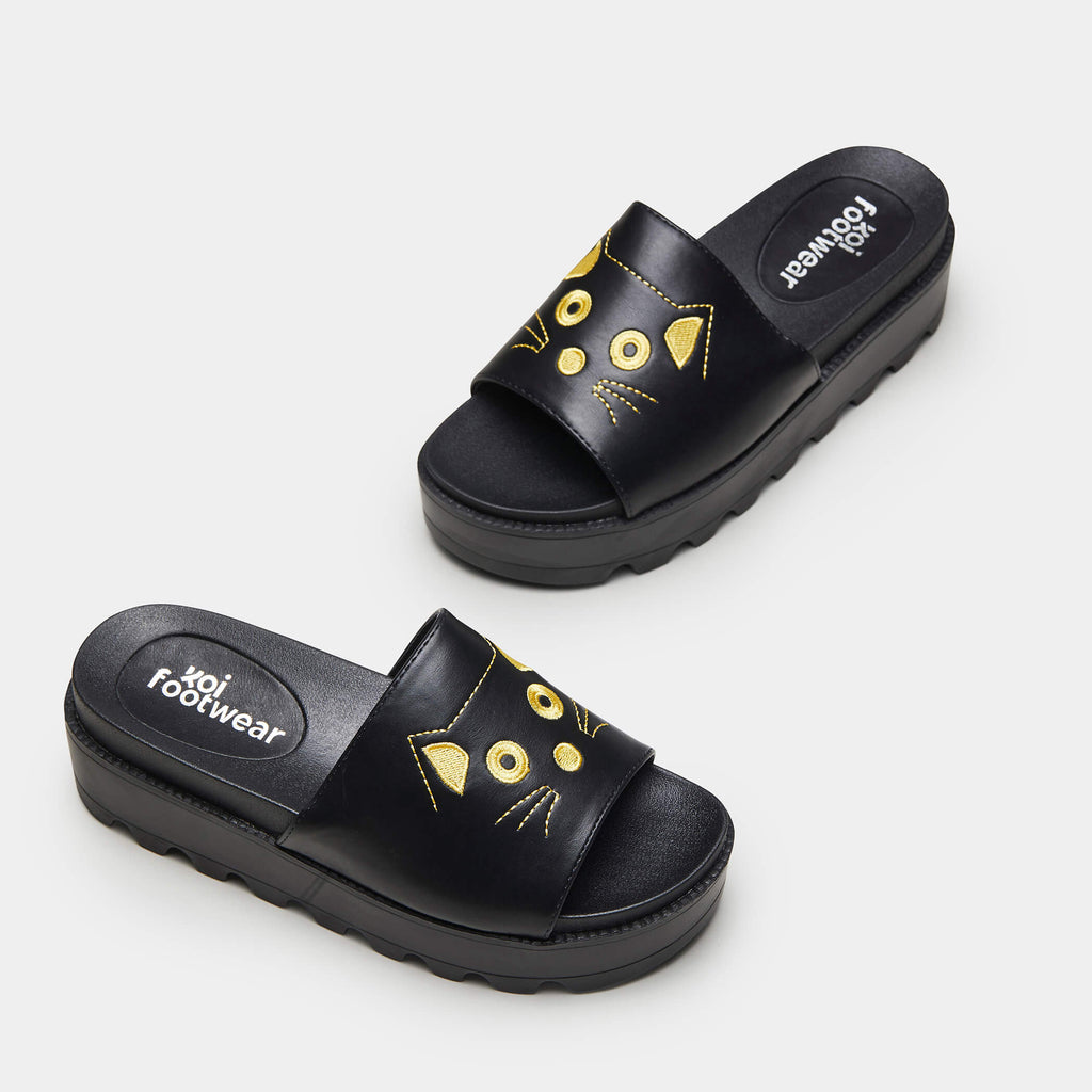 KOI Footwear RIKU Cat Face Sliders Vegan Sliders view 2
