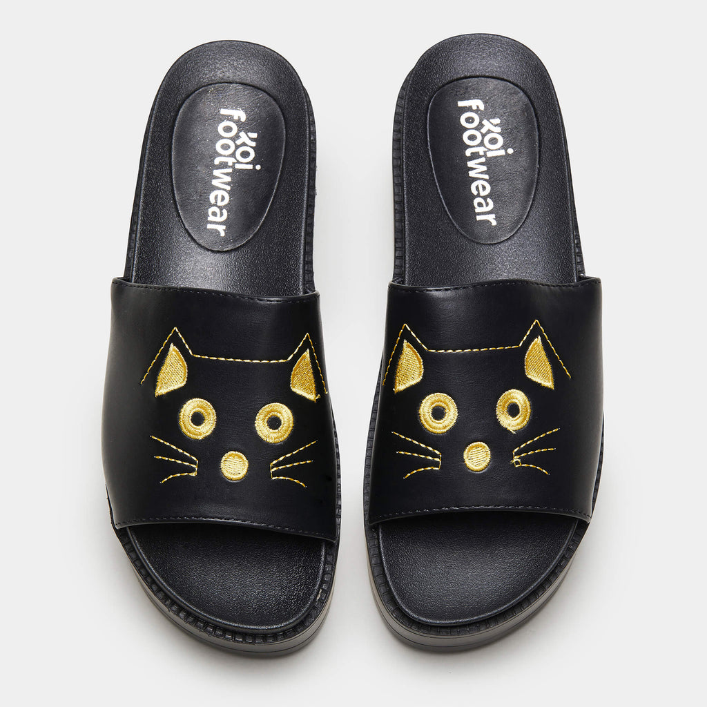 KOI Footwear RIKU Cat Face Sliders Vegan Sliders