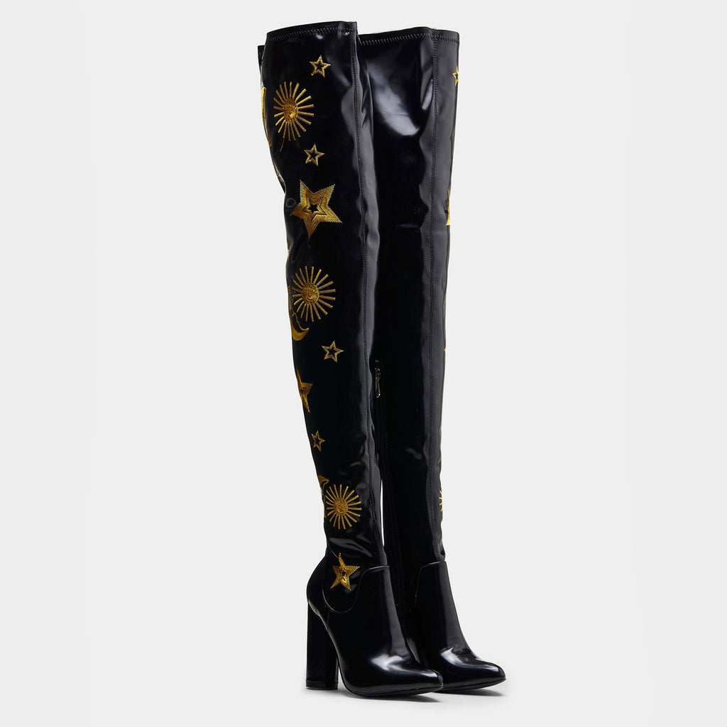 KOI Footwear ASTRID Star and Moon Long Boots Vegan Over The Knee Boots view 3