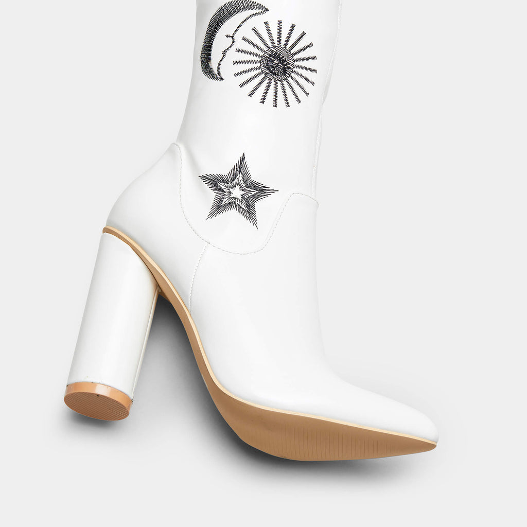 65b09860df3 White Star and Moon Embroidered Shiny Black Over the Knee boots ...