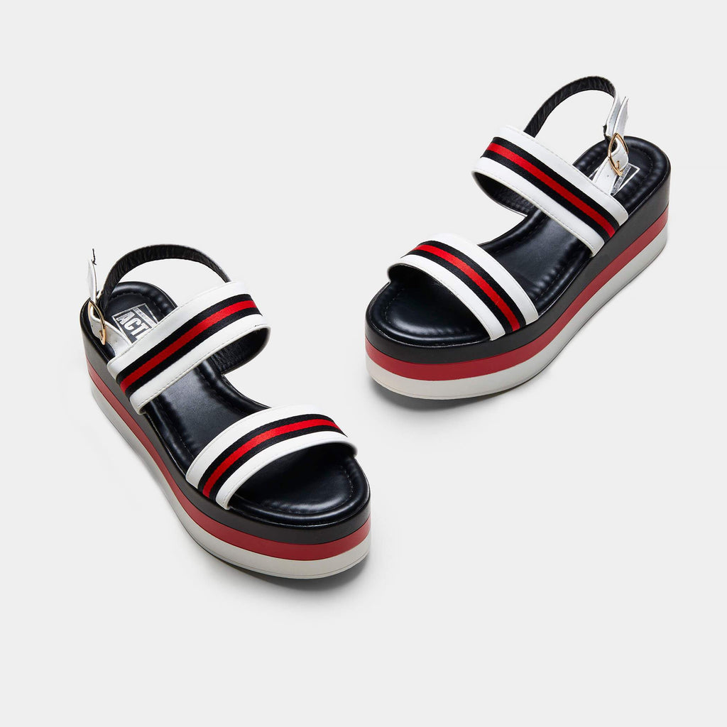 GLADE Striped Chunky Flatform Sandals