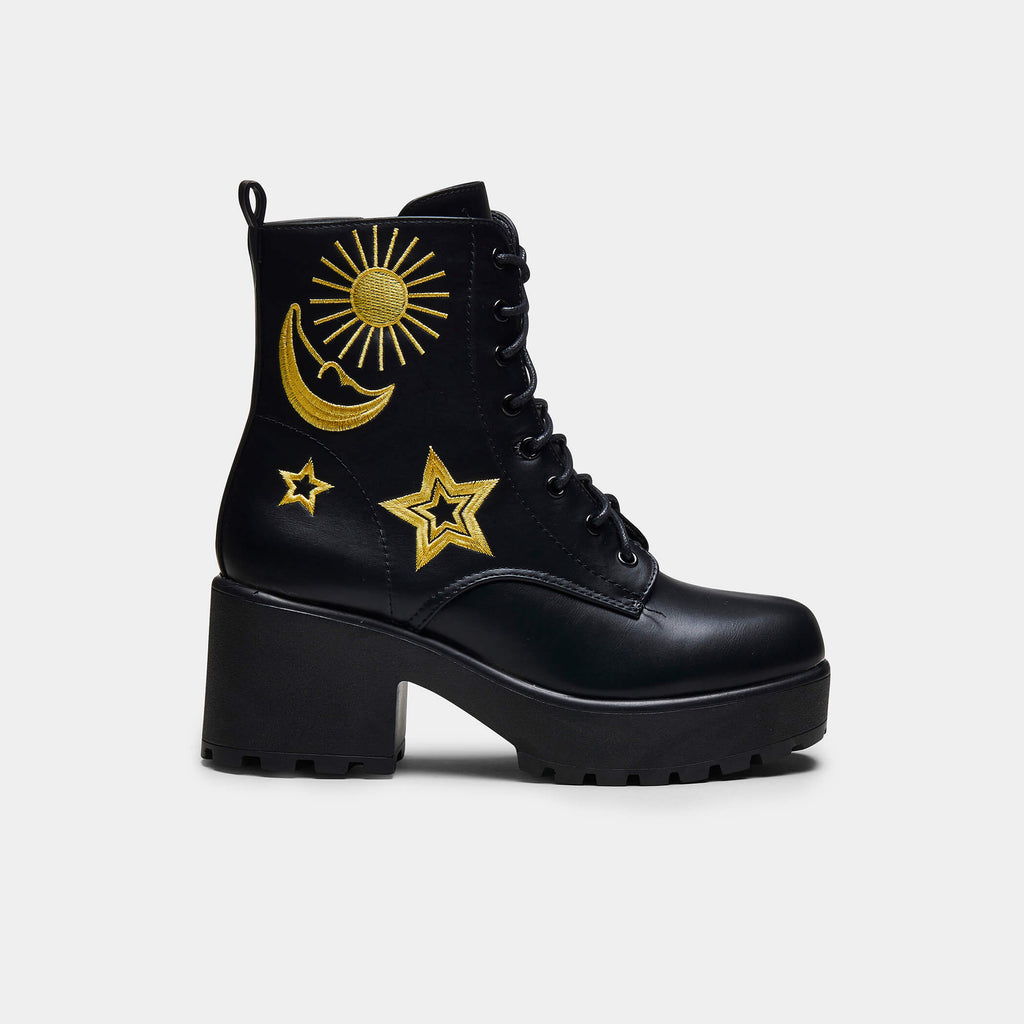 KOI Footwear ASTRO Star and Moon Chunky Boots Vegan Chunky Boots