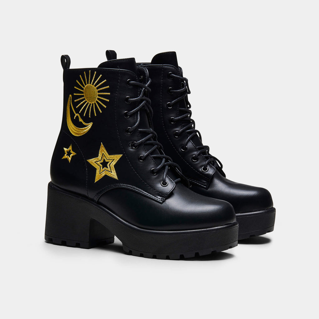 KOI Footwear ASTRO Star and Moon Chunky Boots Vegan Chunky Boots view 2