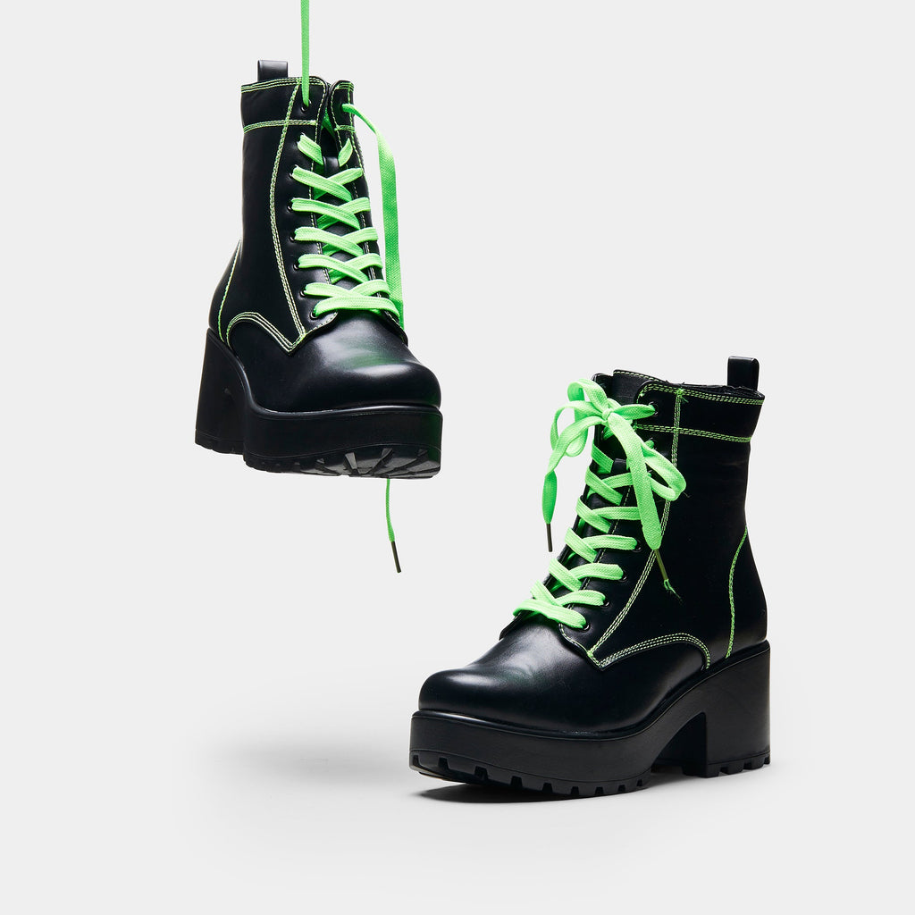 KITANA Green Laced Boots view main view