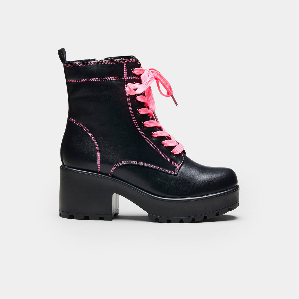 KOI Footwear KITANA Pink Laced Boots Vegan Chunky Boots view 4
