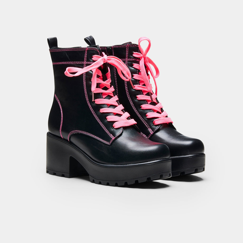 KOI Footwear KITANA Pink Laced Boots Vegan Chunky Boots view 2