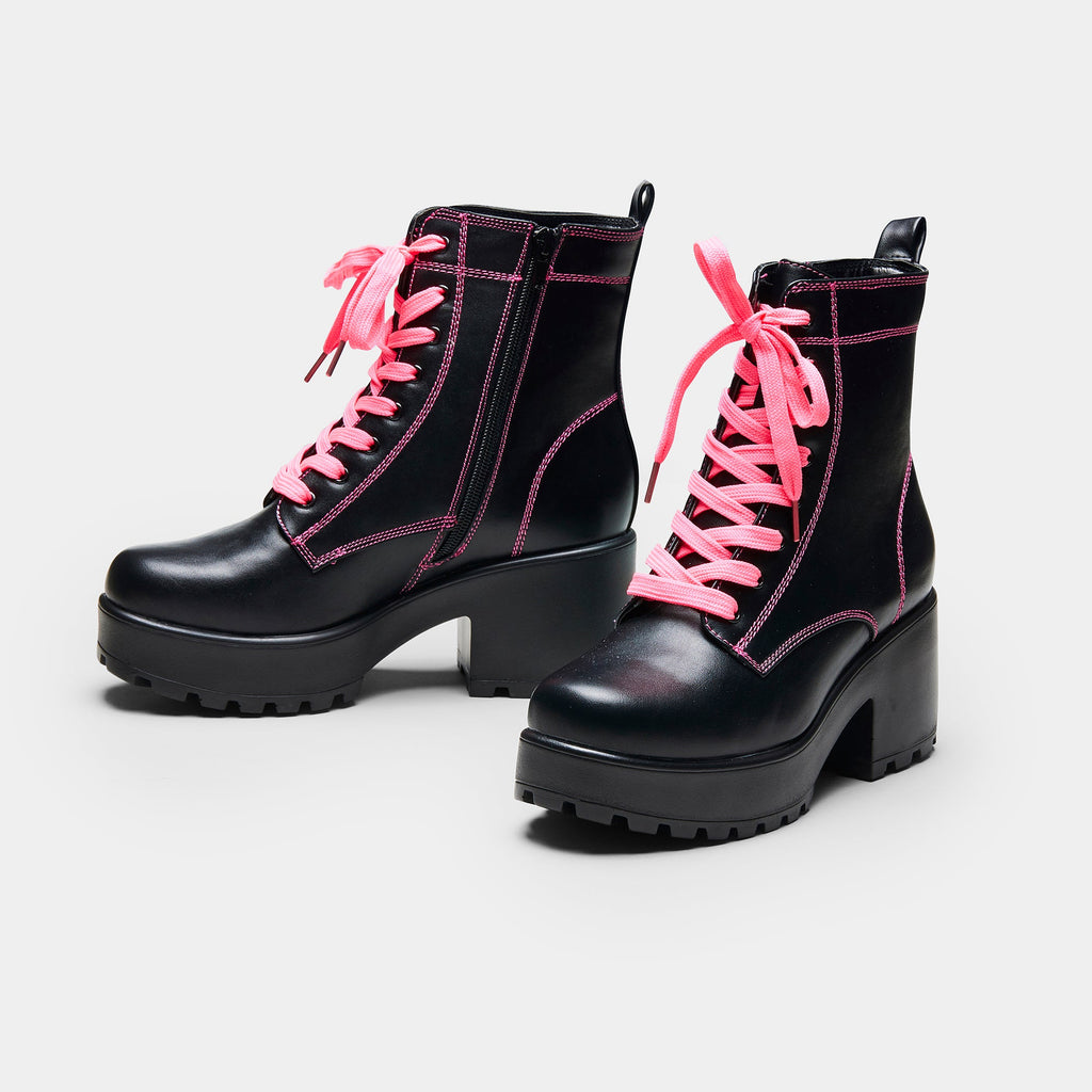 KOI Footwear KITANA Pink Laced Boots Vegan Chunky Boots