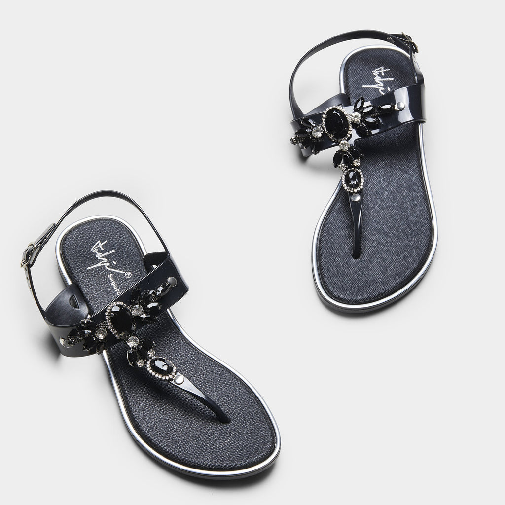 ZELDA Jewelled Flat Sandals