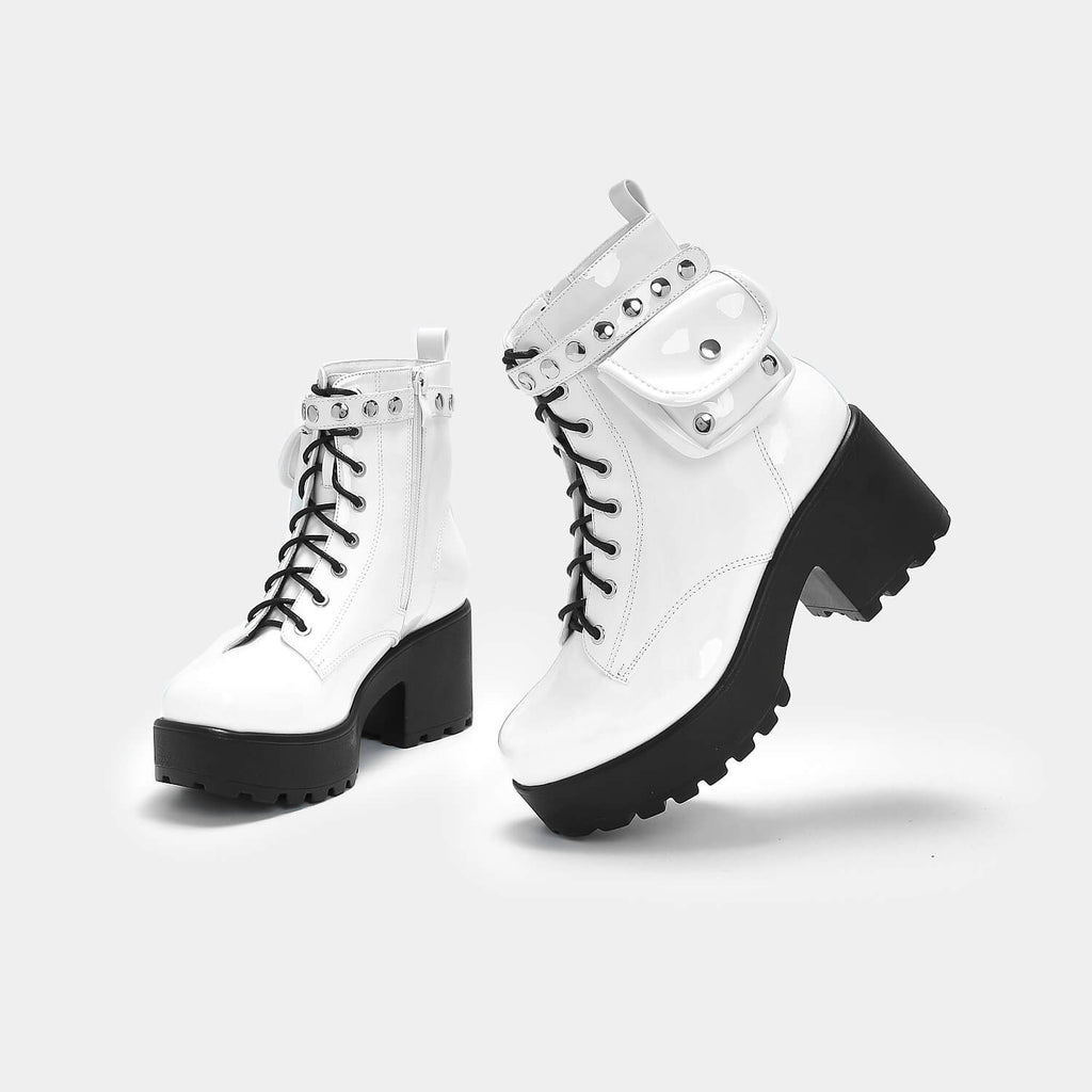 KOI Footwear Aldor Chunky White Pocket Boot Vegan Chunky Boots