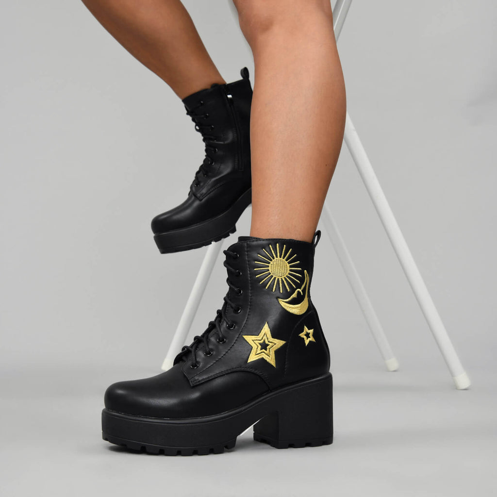 KOI Footwear ASTRO Star and Moon Chunky Boots Vegan Chunky Boots view 3