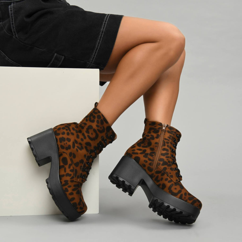 GIN Platform Leopard Military Boots