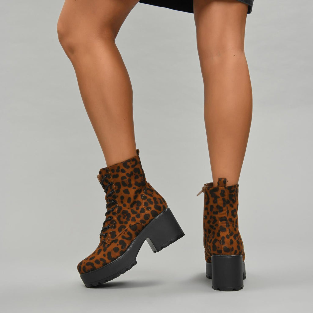 GIN Platform Leopard Military Boots view 3