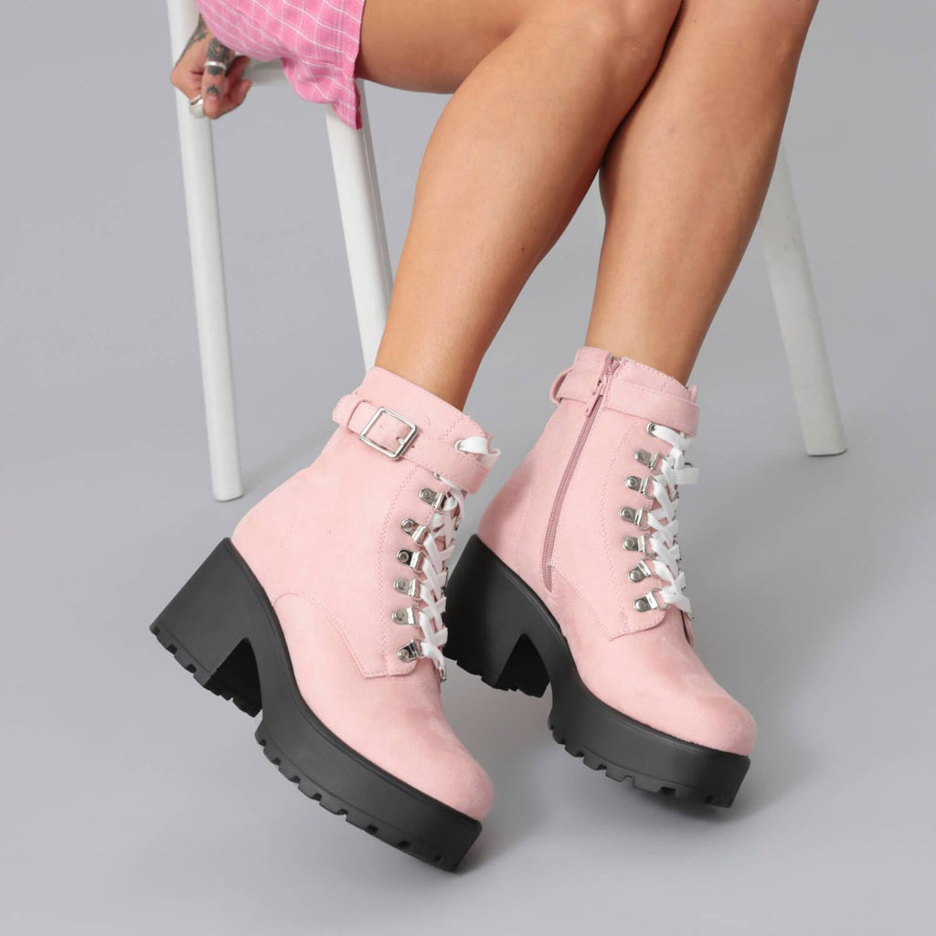 568747d7f203 Light Pink Suede Chunky Platform Biker Boots with White Laces and ...