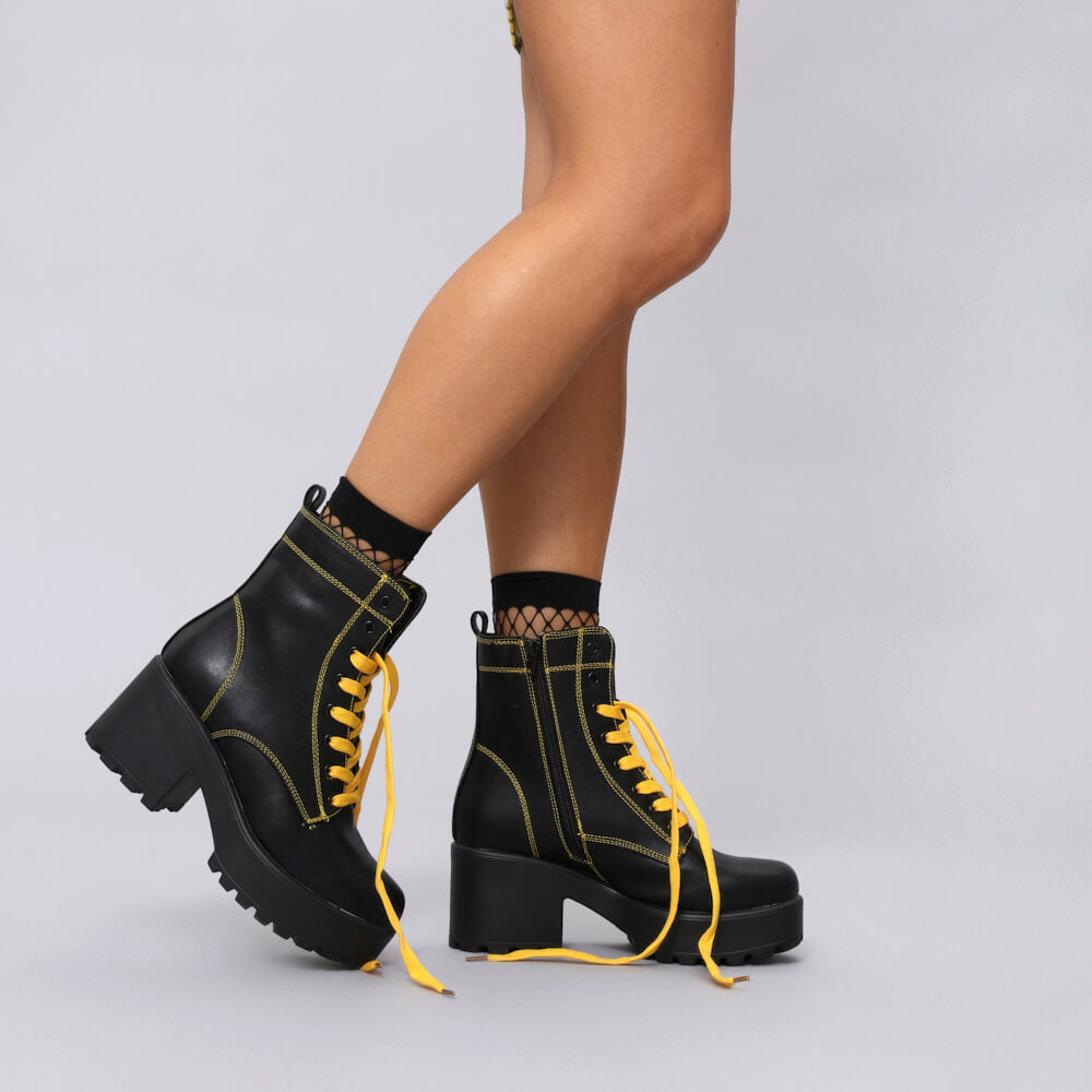 KITANA Yellow Laced Boots Size 10 view 3