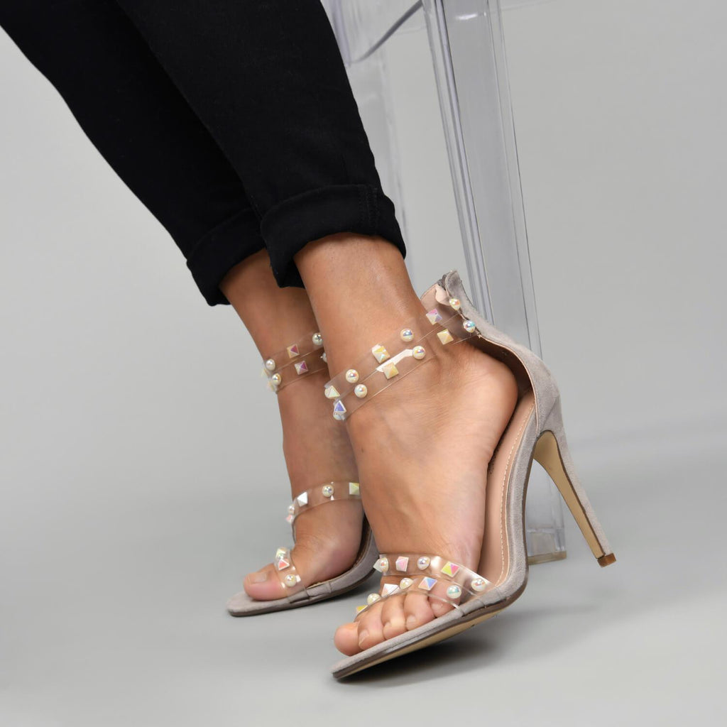 LING Perspex Studded Strap Sandal