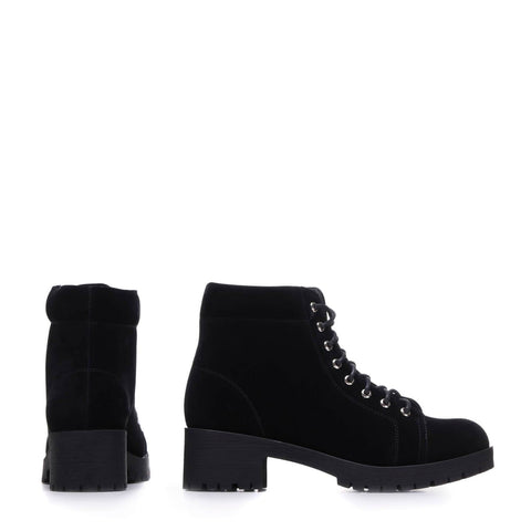 Trimmed Black Suede Lace up Boots