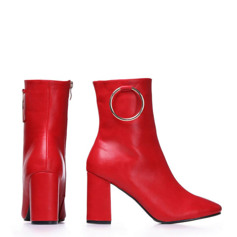 Ring Embellished Red Block Heel Ankle Boots