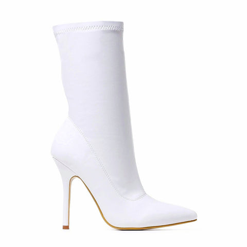 White Knife Pointed Curved Stiletto Sock Boots