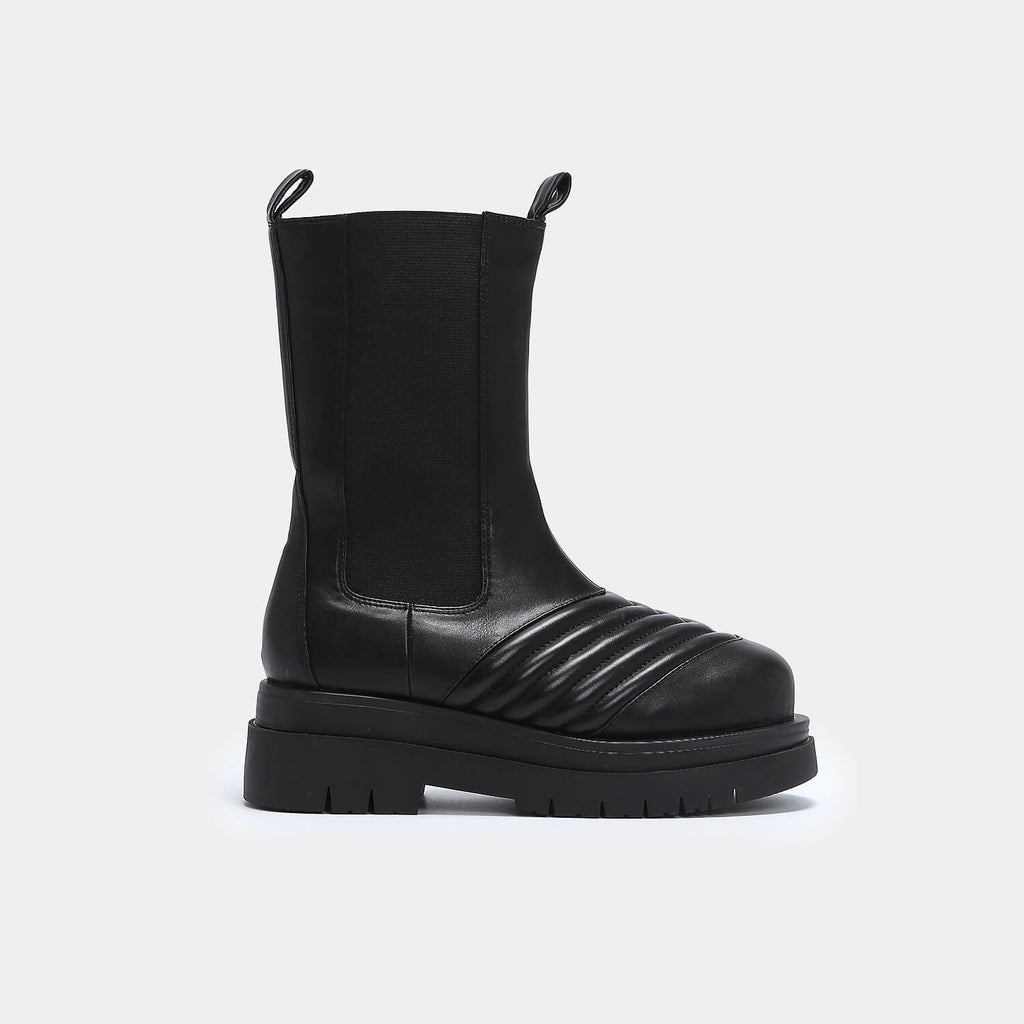 KOI Footwear Haven Long Black Chelsea Boots Vegan Chelsea Boots