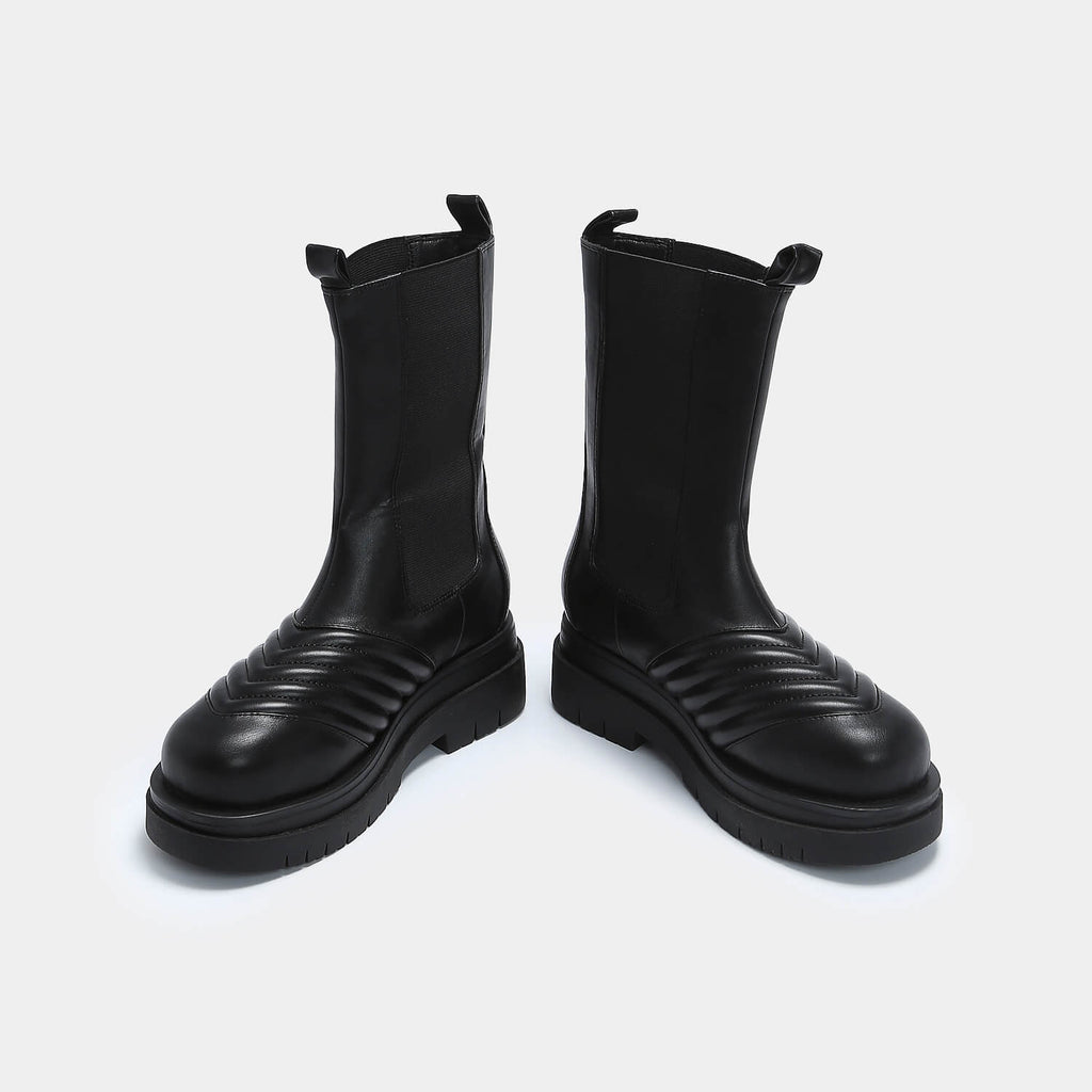 KOI Footwear Haven Long Black Chelsea Boots Vegan Chelsea Boots view 3