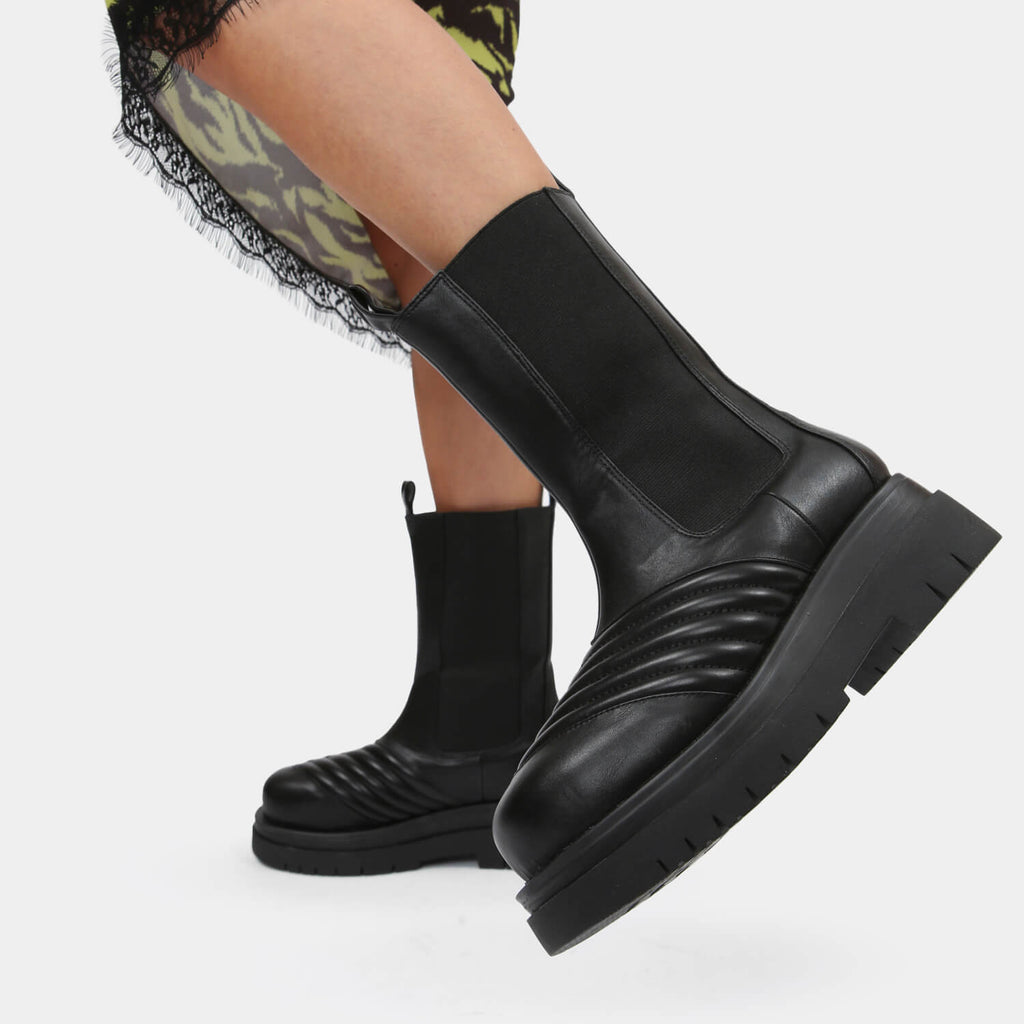 KOI Footwear Haven Long Black Chelsea Boots Vegan Chelsea Boots view 2