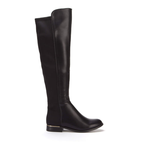 Black Knee High Leather and Lycra Stretch Panel Flat Boots