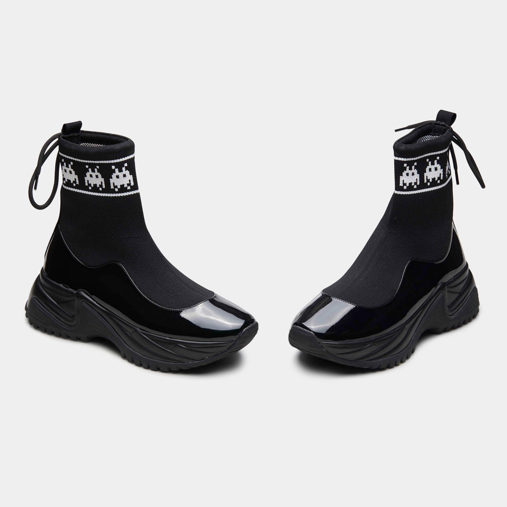 KOI Footwear Ares Black Trey K Sock Trainers Vegan High Top Trainers