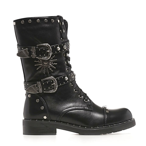 Heavy Duty Ornate and Studded Black Biker Boots