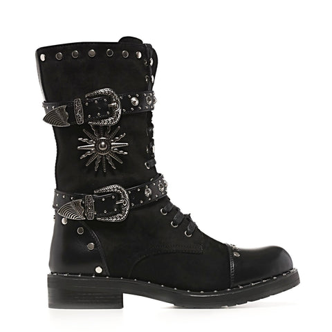 Heavy Duty Ornate and Studded Black Suede Biker Boots