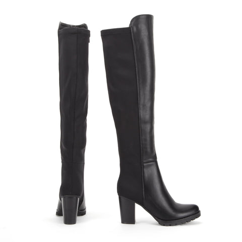 Black Knee High Lycra Stretch Panel Faux Leather Boots
