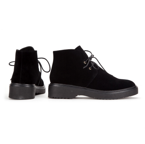 Lace up Short Ankle Desert Boot in Black Suede