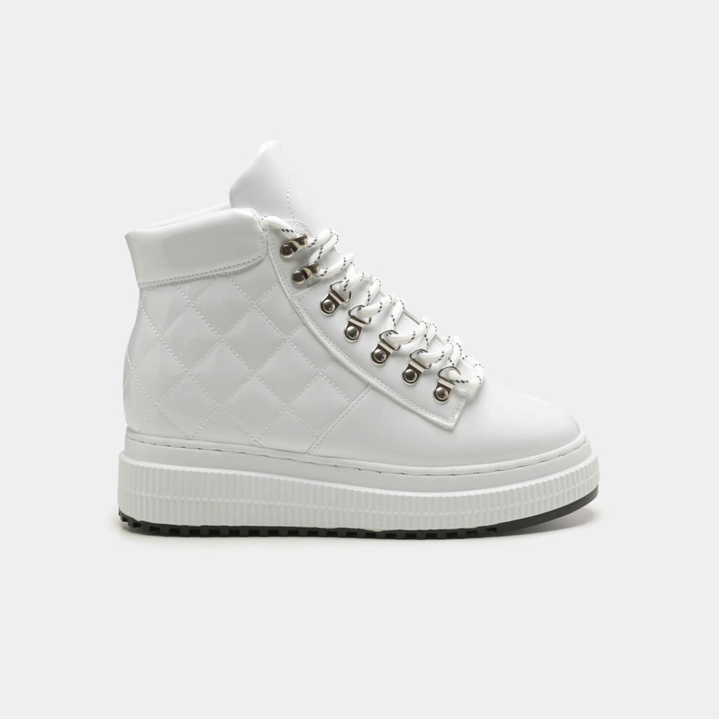 White YURIE Quilted High Top Trainers 1